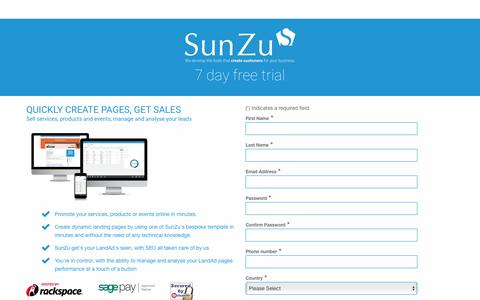 Screenshot of Signup Page sunzu.com - SunZu-Grow your business through our lead generation tool - captured Jan. 25, 2016