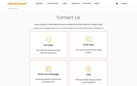 Screenshot of Contact Page livecareer.com - Contact Us | Support | LiveCareer - captured Oct. 9, 2019