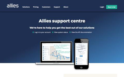 Screenshot of Support Page alliescomputing.com - Support centre - Allies - captured May 29, 2017