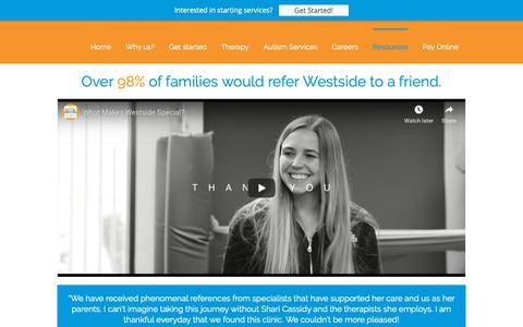 Screenshot of Testimonials Page westsidechildrenstherapy.com - Parents share their child's therapy stories at Westside | Westside Children's Therapy - captured Oct. 20, 2018