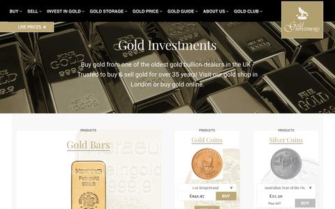 Screenshot of Home Page goldinvestments.co.uk - Gold Bullion UK Dealers   Buy & Sell Gold Online   Gold Investments - captured Sept. 29, 2018