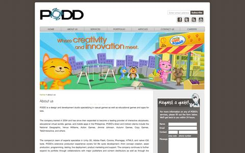 Screenshot of About Page poddcorp.com - PODD develops innovative games and applications for desktop and mobile devices | PODD - captured Oct. 1, 2014