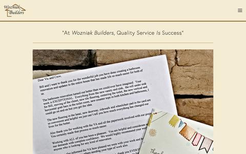 Screenshot of Testimonials Page wozniakbuilders.com - Testimonials — Wozniak Builders - captured Nov. 30, 2016