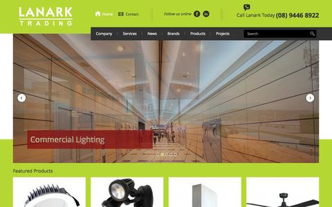 Screenshot of Home Page lanarktrading.com.au - Lanark Trading, Perth's leading supplier of Lighting, Fans & Bathroom Heating products - captured Sept. 27, 2014
