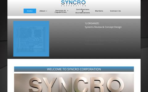 Screenshot of Home Page syncrocorp.com - SYNCRO Corp   Manufacturing and Systems Integration - captured Sept. 25, 2018