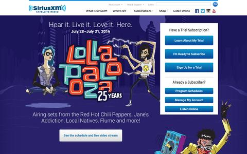 Screenshot of Home Page siriusxm.com - Welcome to the world of satellite radio - SiriusXM Radio - captured Aug. 1, 2016