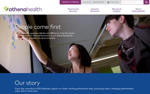 Screenshot of About Page athenahealth.com - Medical Practice Services | About Us | athenahealth - captured April 10, 2017