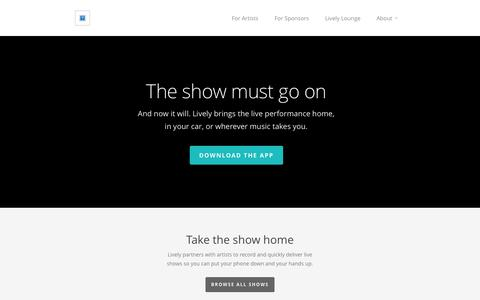 Screenshot of Home Page getlive.ly - Lively - captured Oct. 2, 2014