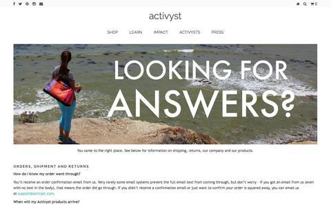 Screenshot of FAQ Page activyst.com - FAQ – activyst - captured Sept. 30, 2014