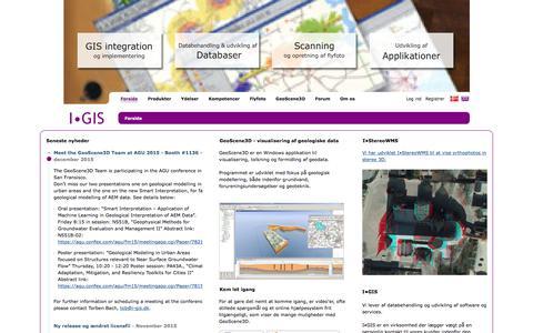 Screenshot of Home Page i-gis.dk - I-GIS›Forside - captured Feb. 2, 2016
