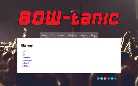 Screenshot of Site Map Page jimdo.com - Sitemap - BOW-tanic * djs ~ music ~ radio - captured April 3, 2017