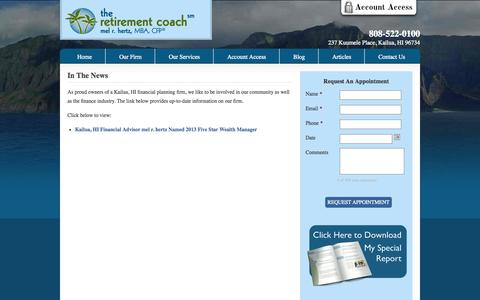 Screenshot of Press Page theretirementcoach.org - In The News | Kailua, HI | The Retirement Coach - captured Oct. 5, 2014