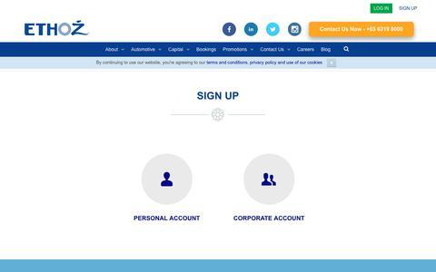 Screenshot of Signup Page ethozgroup.com - Sign Up - ETHOZ - captured Sept. 26, 2018