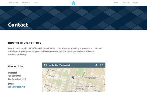 Screenshot of Contact Page perts.net - Contact PERTS - captured Jan. 22, 2016