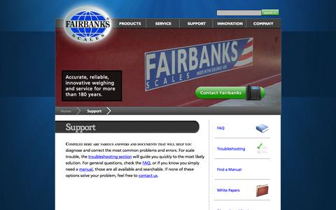 Screenshot of Support Page fairbanks.com - Fairbanks Product & Tech Support - captured Sept. 22, 2014