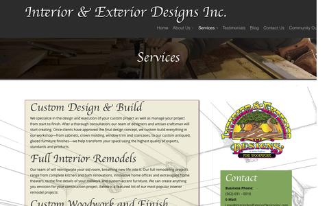 Screenshot of Services Page interiorandexteriordesignsinc.com - Interior and Exterior Designs Inc | Interior and Exterior Design & Remodeling | Services - captured Aug. 6, 2016