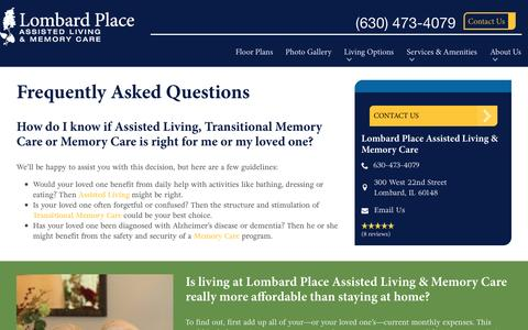 Screenshot of FAQ Page spectrumretirement.com - FAQs | Lombard Place Assisted Living & Memory Care - captured Jan. 23, 2017
