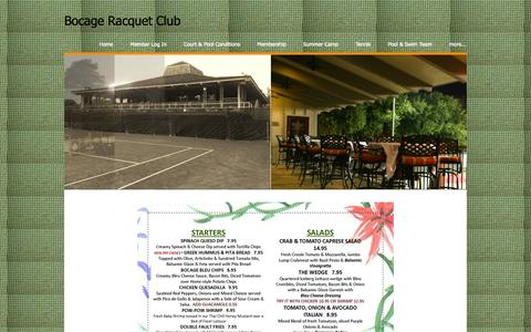 Screenshot of Menu Page bocagerc.org - MENU - Bocage Racquet Club - captured Oct. 5, 2014