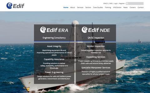 Screenshot of Home Page edifgroup.com - Edif Group - Edif ERA and Edif NDE - captured June 20, 2015