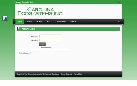 Screenshot of Login Page carolinaeco.com - User Log In - captured Oct. 25, 2016