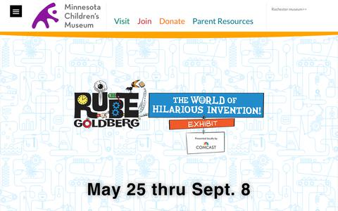 Screenshot of Home Page mcm.org - Home - Minnesota Children's Museum - captured May 16, 2019