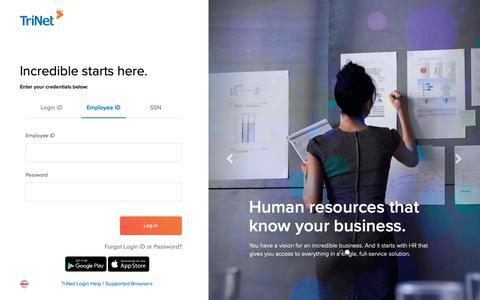 Screenshot of Login Page trinet.com - TriNet Platform - captured April 9, 2019