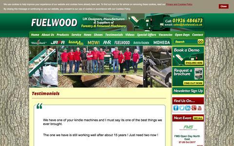Screenshot of Testimonials Page fuelwood.co.uk - Testimonials - captured Oct. 14, 2017