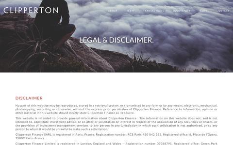 Screenshot of Terms Page clipperton.net - Legal   Clipperton Finance - captured Sept. 17, 2016