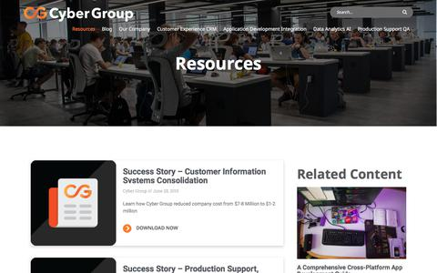 Screenshot of Case Studies Page cygrp.com - Resources | Cyber Group - captured July 2, 2019