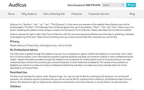 Screenshot of Terms Page audicus.com - Terms of Service  | Audicus - captured Oct. 28, 2014