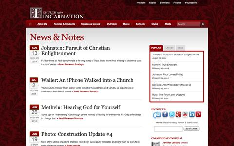 Screenshot of Blog incarnation.org - News & Notes   Church of the Incarnation - captured Oct. 2, 2014