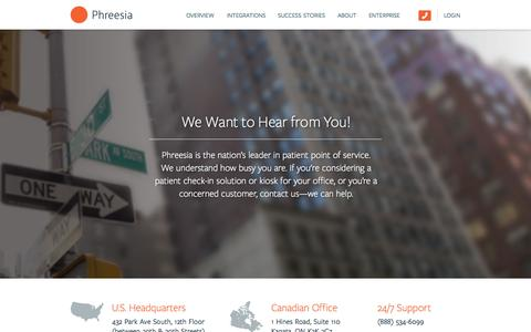 Screenshot of Contact Page phreesia.com - Contact Us — Phreesia.com - captured June 16, 2015