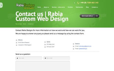 Screenshot of Contact Page rabiadesigns.co.uk - Contact us | Rabia Custom Web Design - captured Sept. 26, 2014
