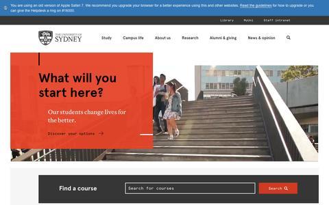 Screenshot of Home Page sydney.edu.au - Home - The University of Sydney - captured Jan. 13, 2016