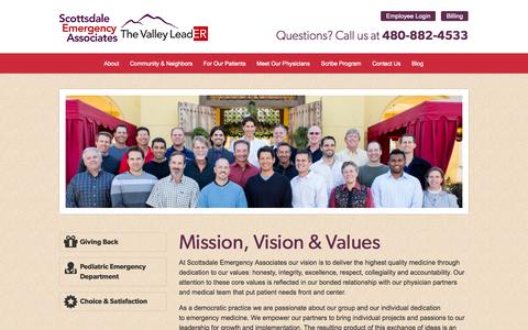 Screenshot of About Page thevalleyleader.com - Mission, Vision & Values  |  Scottsdale Emergency Associates - captured Oct. 27, 2014