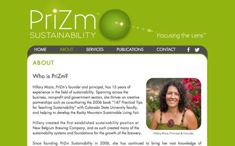 Screenshot of About Page prizmsustainability.com - prizm | ABOUT - captured July 22, 2018
