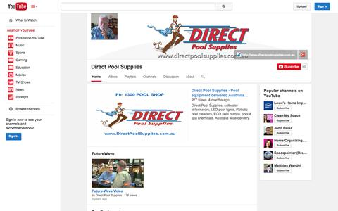 Screenshot of YouTube Page youtube.com - Direct Pool Supplies  - YouTube - captured Oct. 23, 2014