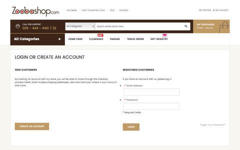 Screenshot of Login Page zoobashop.com - Customer Login - captured Dec. 4, 2016