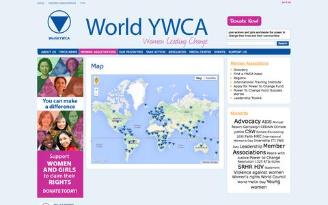 Screenshot of Maps & Directions Page worldywca.org - Map / Member Associations / Home - World YWCA - captured Oct. 9, 2014