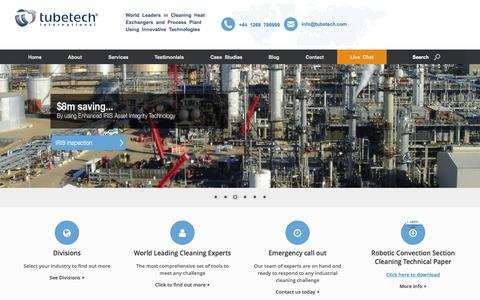 Screenshot of Home Page tubetech.com - Heat Exchanger Cleaning Specialists - captured Sept. 2, 2015