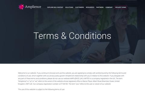 Screenshot of Terms Page amplience.com - Terms & conditions - Amplience - captured July 3, 2016