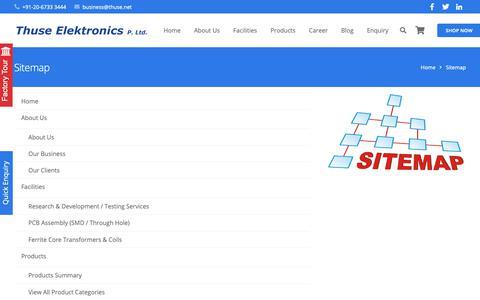 Screenshot of Site Map Page thuse.net - Sitemap – Thuse Elektronics P. Ltd. - captured Nov. 16, 2018