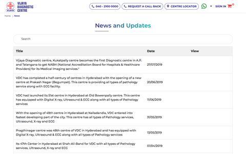 Screenshot of Press Page vijayadiagnostic.com - News || Vijaya Diagnostic Centre - captured Oct. 2, 2019