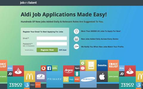 Screenshot of Landing Page jobandtalent.com - See Online Aldi Job Applications Opportunities - captured Dec. 28, 2016