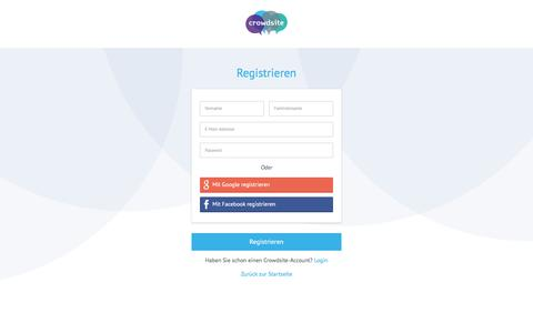 Screenshot of Signup Page crowdsite.de - Registrieren - captured March 26, 2017