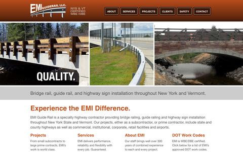 Screenshot of Home Page emiguiderail.com - EMI Guide Rail     BRIDGE RAIL     GUIDE RAIL     HIGHWAY SIGNS     STRUCTURES - captured Oct. 1, 2014