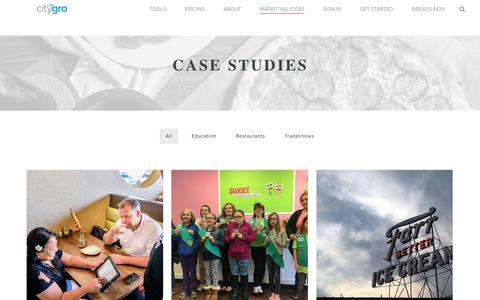 Screenshot of Case Studies Page citygro.com - Case Studies - citygro - captured March 12, 2018