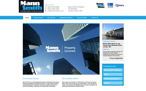 Screenshot of Home Page mannsmith.co.uk - Commercial Estate Agents South West London - Commercial Property South West London - Mann Smith Commercial - captured Sept. 30, 2014
