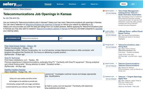 Screenshot of Jobs Page salary.com - Telecommunications Job Openings in Kansas | Salary.com - captured Oct. 26, 2018