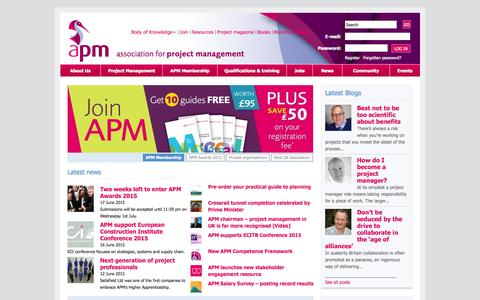 Screenshot of Home Page apm.org.uk - Association for Project Management | The professional body for project management - captured June 18, 2015
